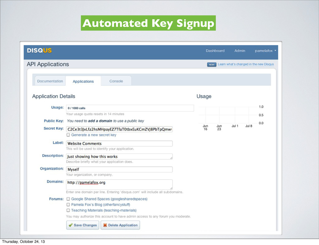 Automated Key Signup Thursday, October 24, 13