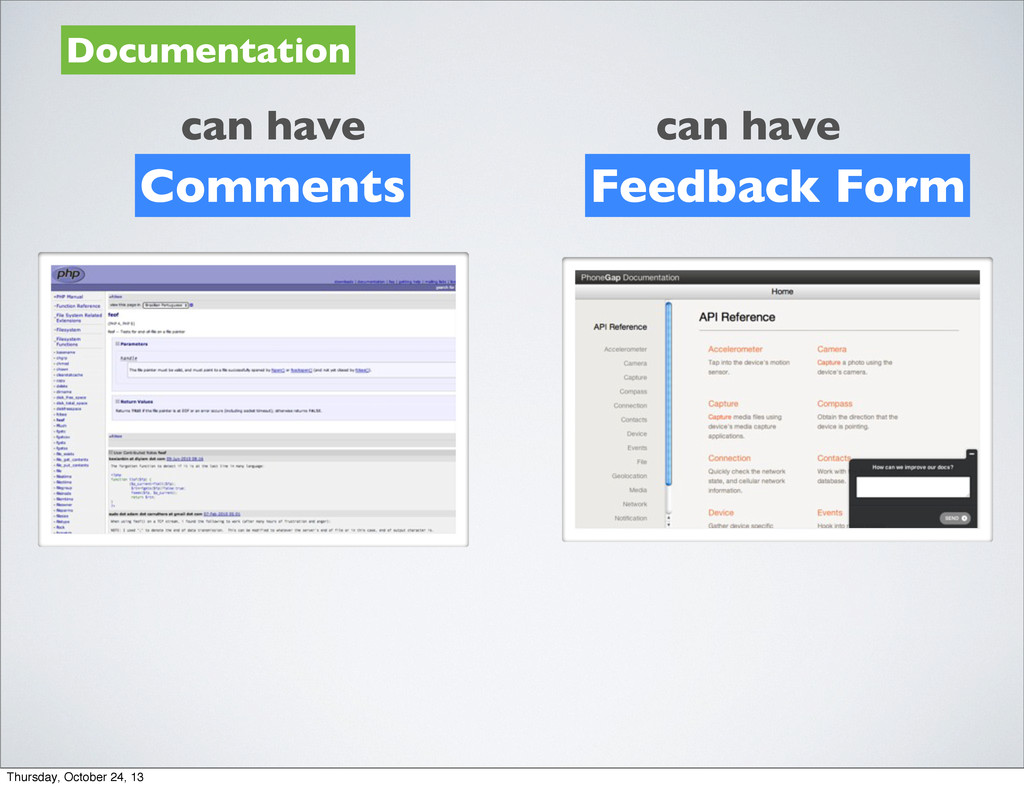 Documentation can have Comments can have Feedba...