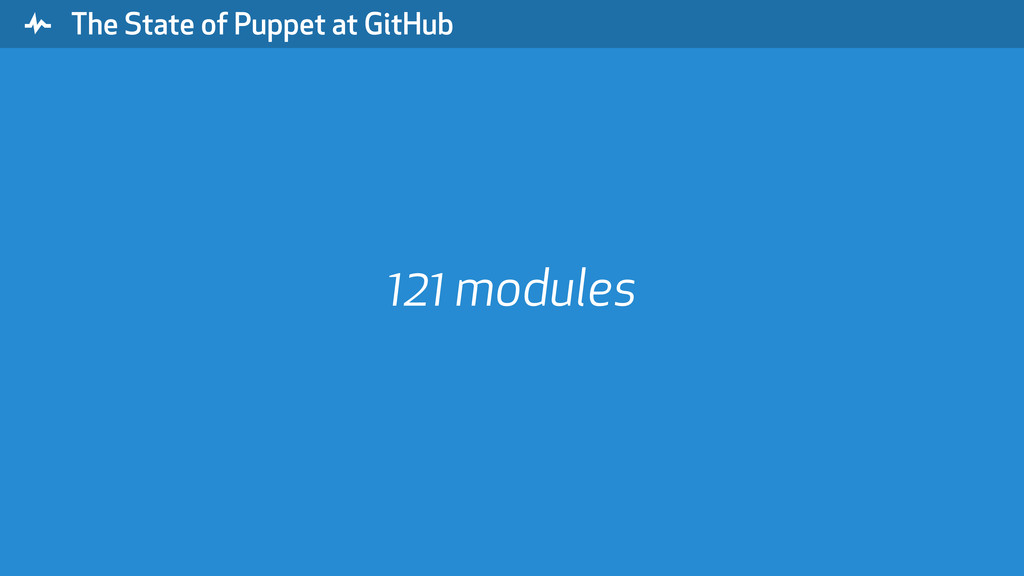 """ The State of Puppet at GitHub 121 modules"