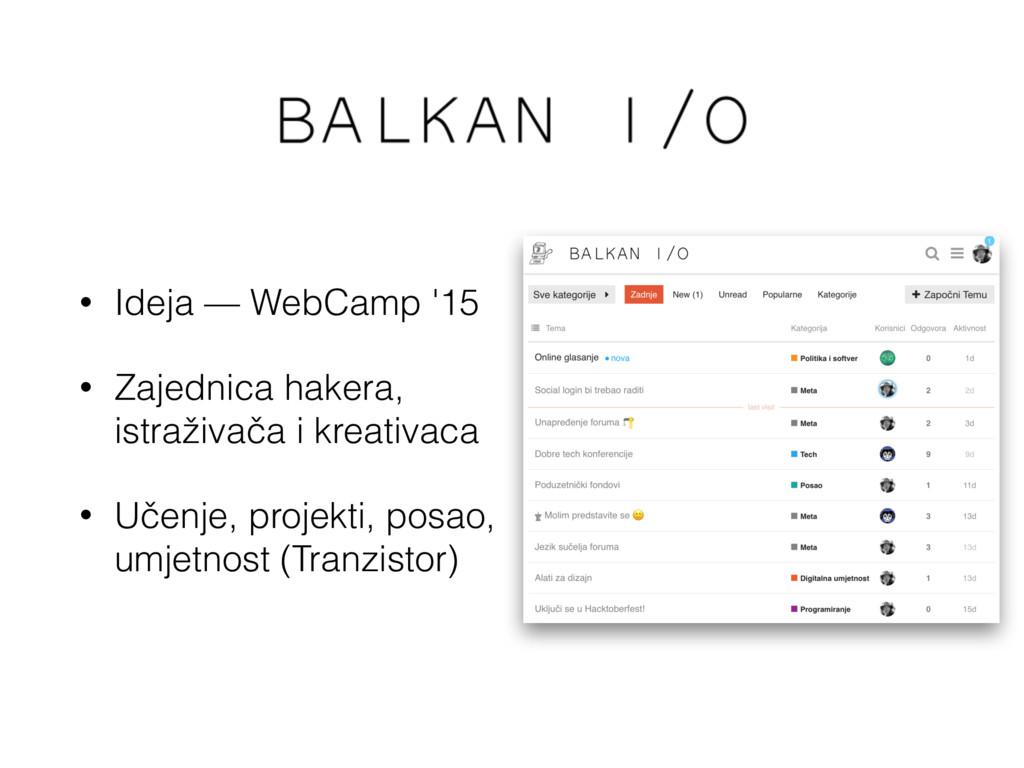 Balkan I/O • Ideja — WebCamp '15 • Zajednica ha...