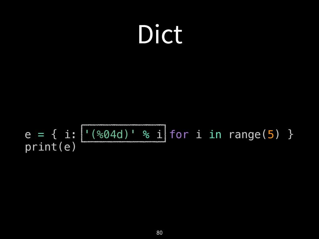 %JDU e = { i: '(%04d)' % i for i in range(5) } ...