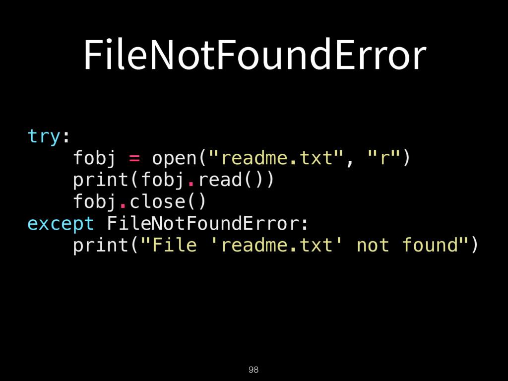 """'JMF/PU'PVOE&SSPS try: fobj = open(""""readme.txt""""..."""
