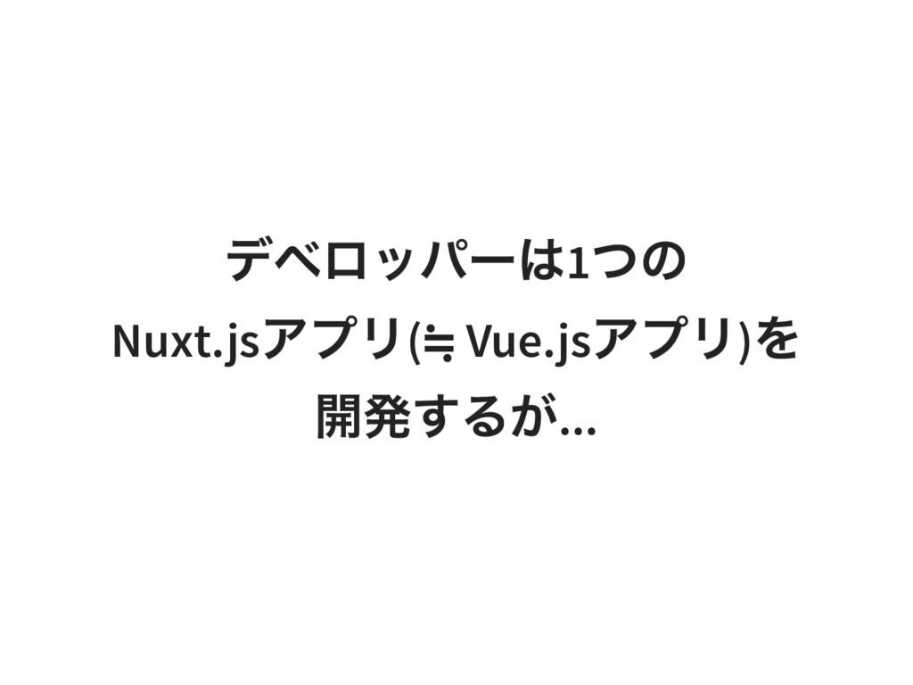 デベロッパーは1 つの Nuxt.js アプリ( ≒ Vue.js アプリ) を 開発するが....