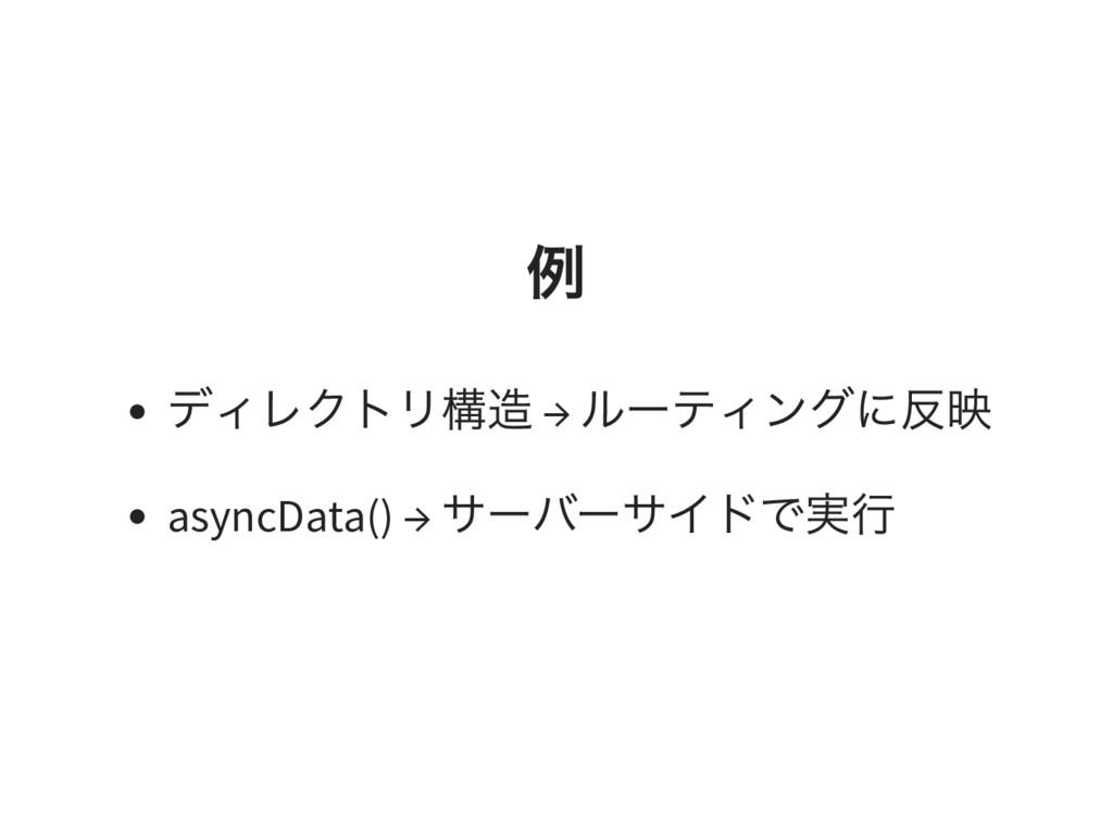 例 ディレクトリ構造 → ルーティングに反映 asyncData() → サーバーサイドで実行