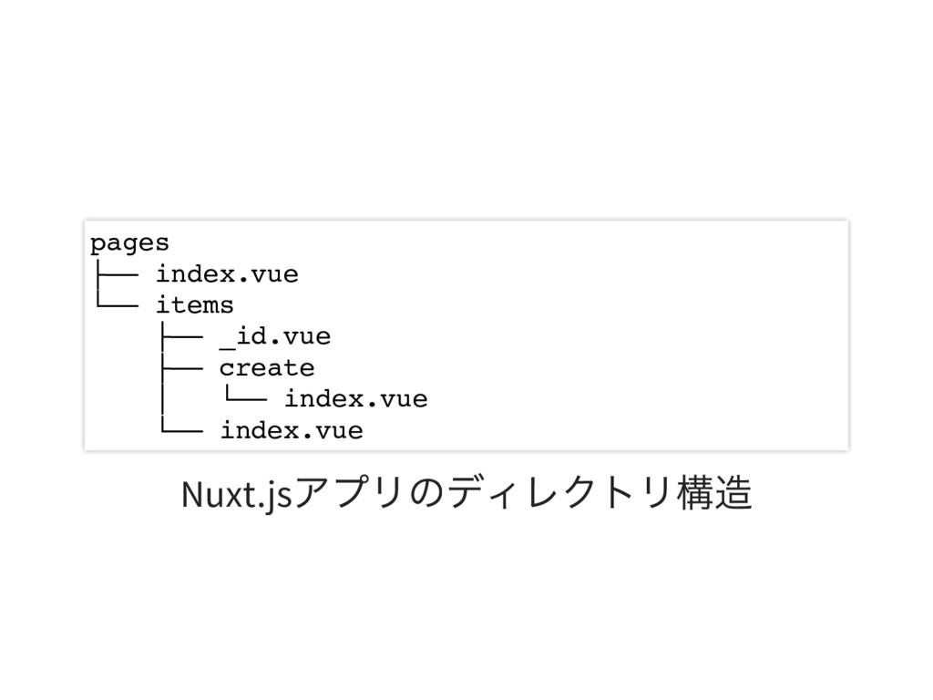 pages ├── index.vue └── items ├── _id.vue ├── c...