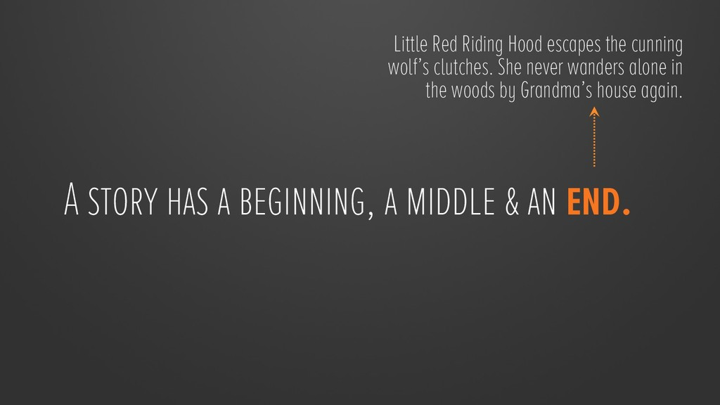 A story has a beginning, a middle & an end.  L...