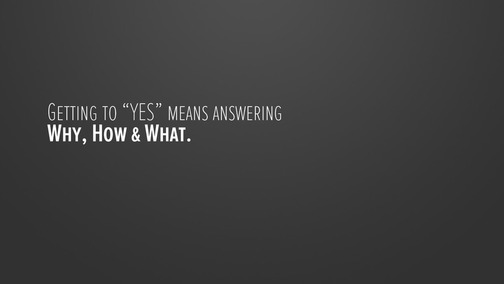 """Getting to """"YES"""" means answering Why, How & Wha..."""