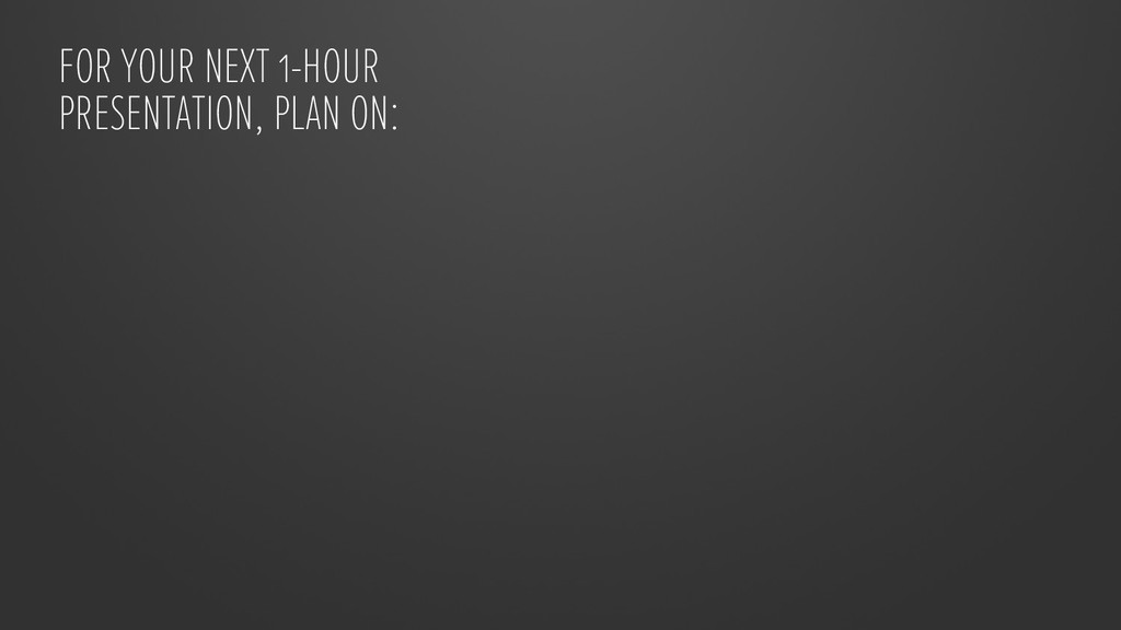 FOR YOUR NEXT 1-HOUR PRESENTATION, PLAN ON: