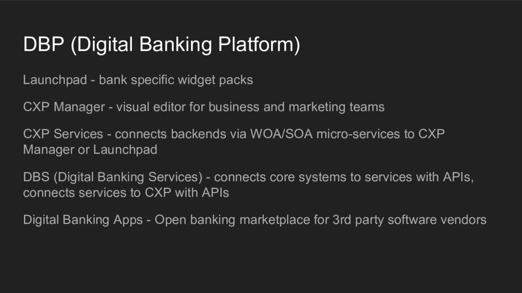 DBP (Digital Banking Platform) Launchpad - bank...