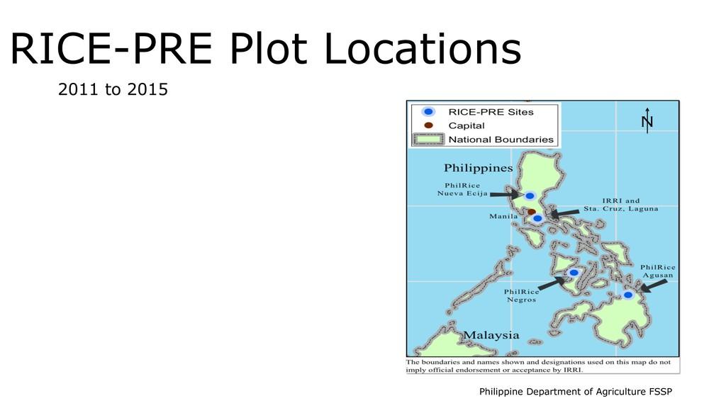 RICE-PRE Plot Locations 2011 to 2015 N Philippi...
