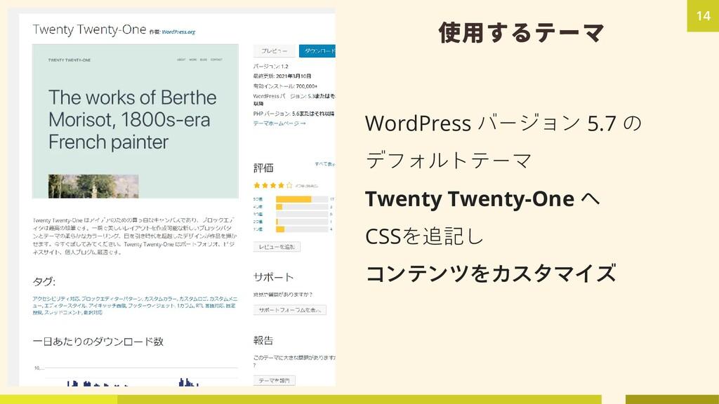 使用するテーマ WordPress バージョン 5.7 の デフォルトテーマ Twenty T...