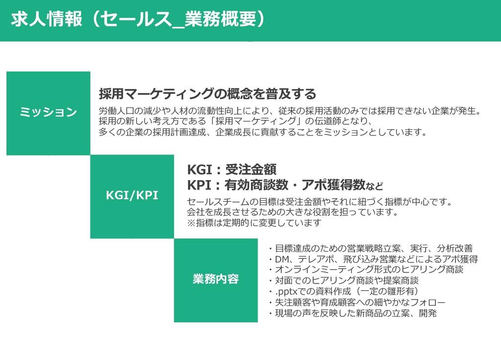 求⼈情報(セールス_業務概要) ミッション KGI/KPI 業務内容 採⽤マーケティングの概念...