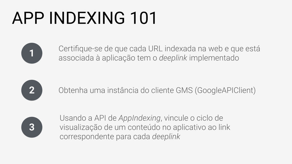 APP INDEXING 101 1 Certifique-se de que cada URL...