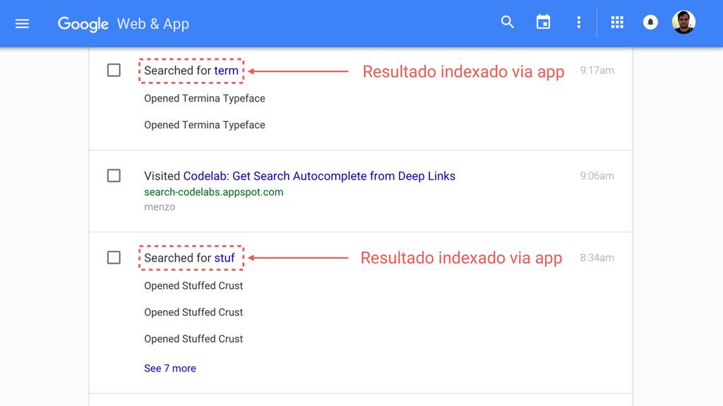 Resultado indexado via app Resultado indexado v...