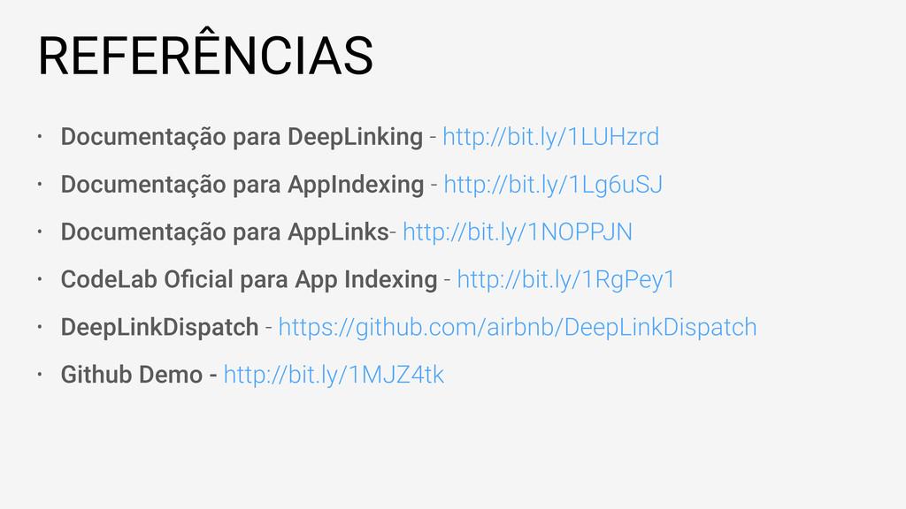 REFERÊNCIAS • Documentação para DeepLinking - h...