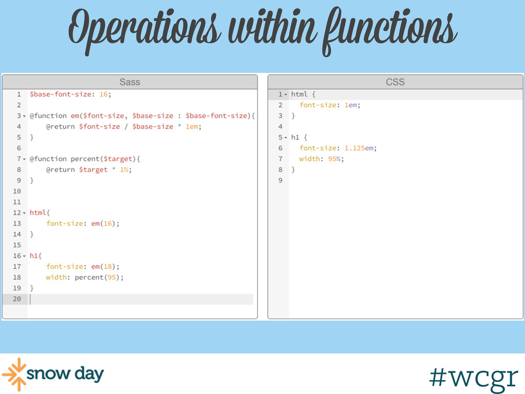 #wcgr Operations within functions