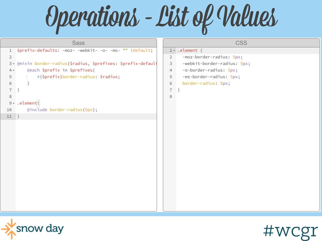 #wcgr Operations - List of Values #wcgr