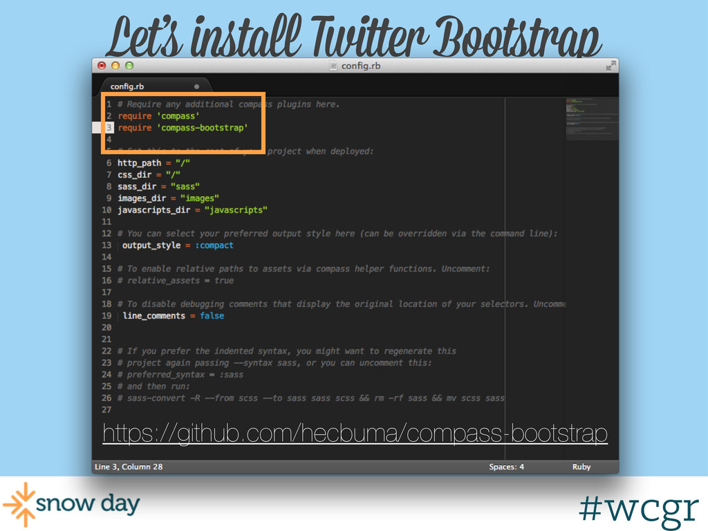 #wcgr Let's install Twitter Bootstrap https://g...