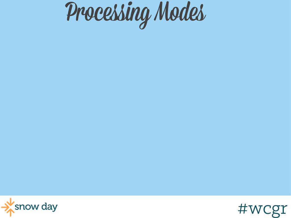 #wcgr Processing Modes #wcgr