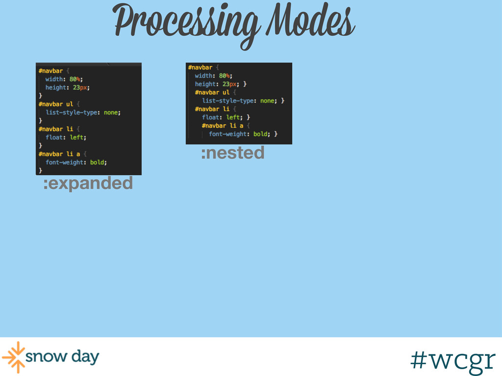 #wcgr Processing Modes :nested :expanded #wcgr