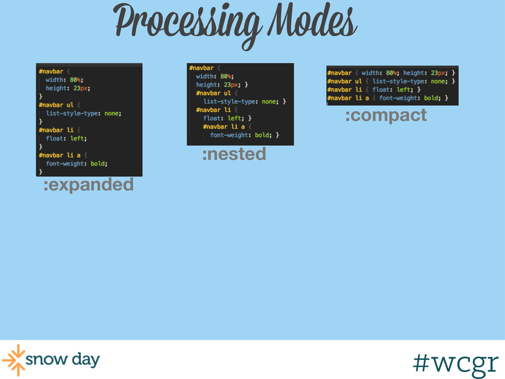 #wcgr Processing Modes :nested :expanded :compa...