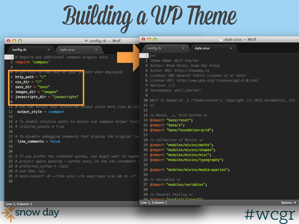 #wcgr Building a WP Theme #wcgr