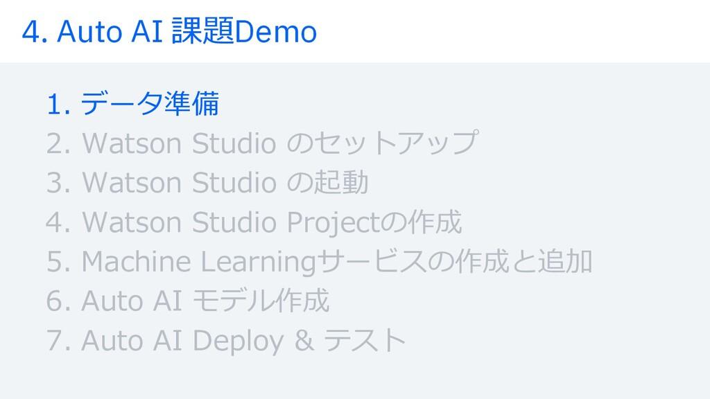4. Auto AI 課題Demo 1. データ準備 2. Watson Studio のセッ...