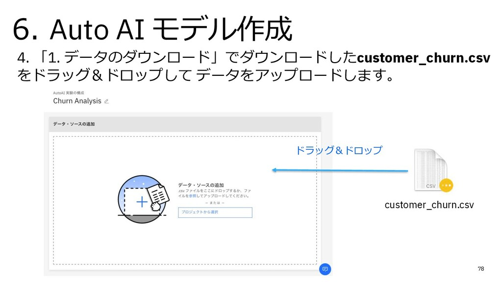 6. Auto AI モデル作成 78 4. 「1. データのダウンロード」でダウンロードした...
