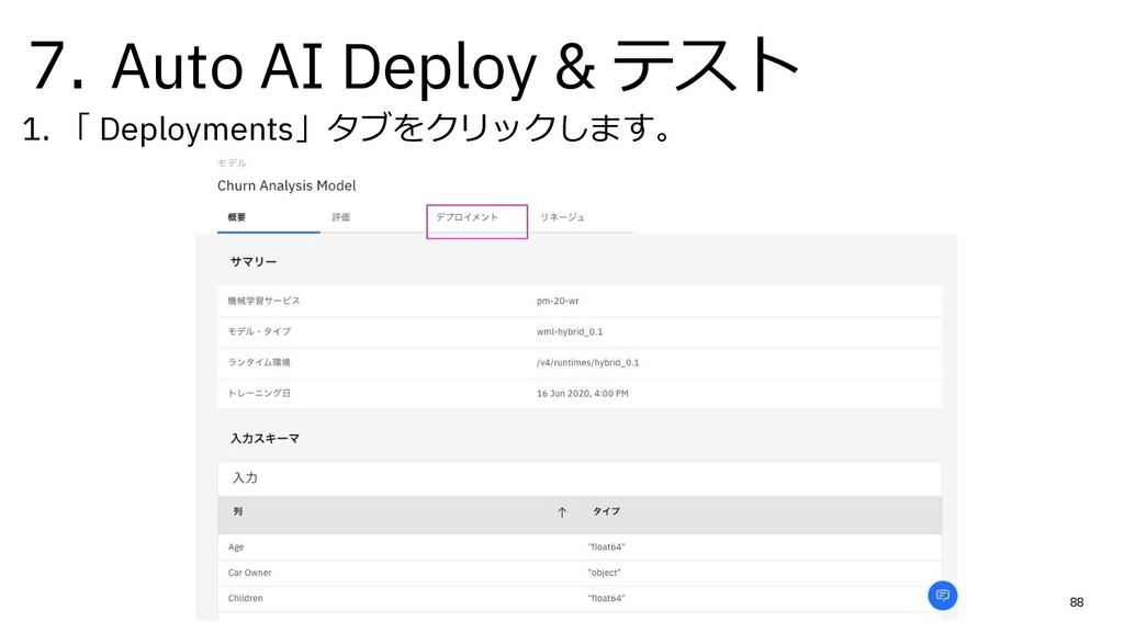 7. Auto AI Deploy & テスト 1. 「 Deployments」タブをクリッ...