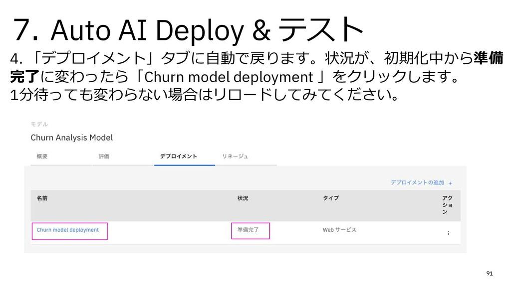 7. Auto AI Deploy & テスト 4. 「デプロイメント」タブに⾃動で戻ります。...