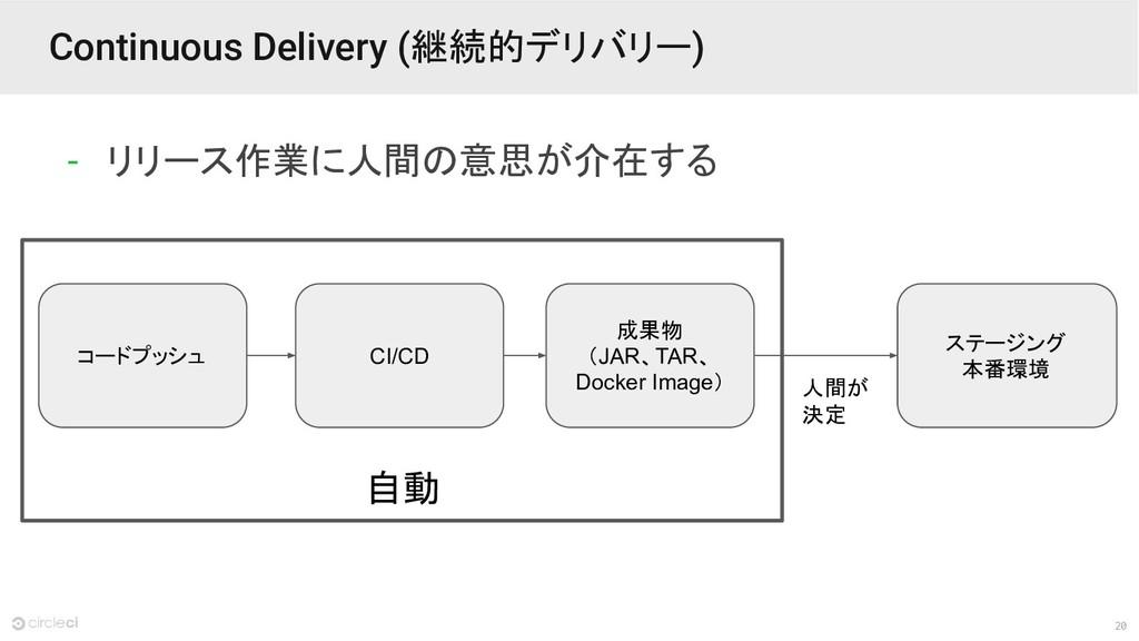 20 自動 Continuous Delivery (継続的デリバリー) - リリース作業に人...