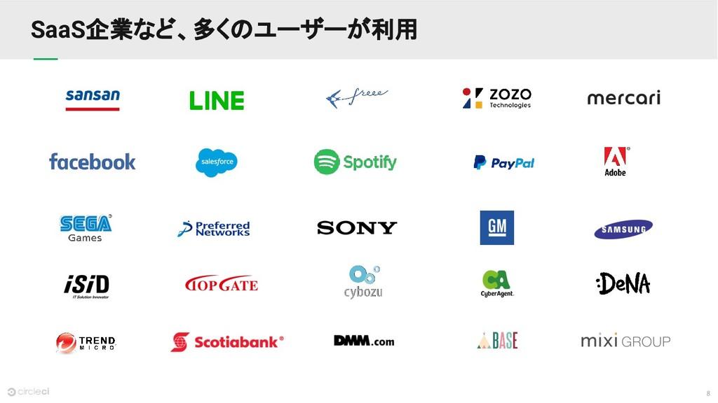 8 SaaS企業など、多くのユーザーが利用