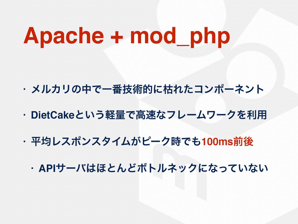Apache + mod_php • ϝϧΧϦͷதͰҰ൪ٕज़తʹރΕͨίϯϙʔωϯτ • Di...