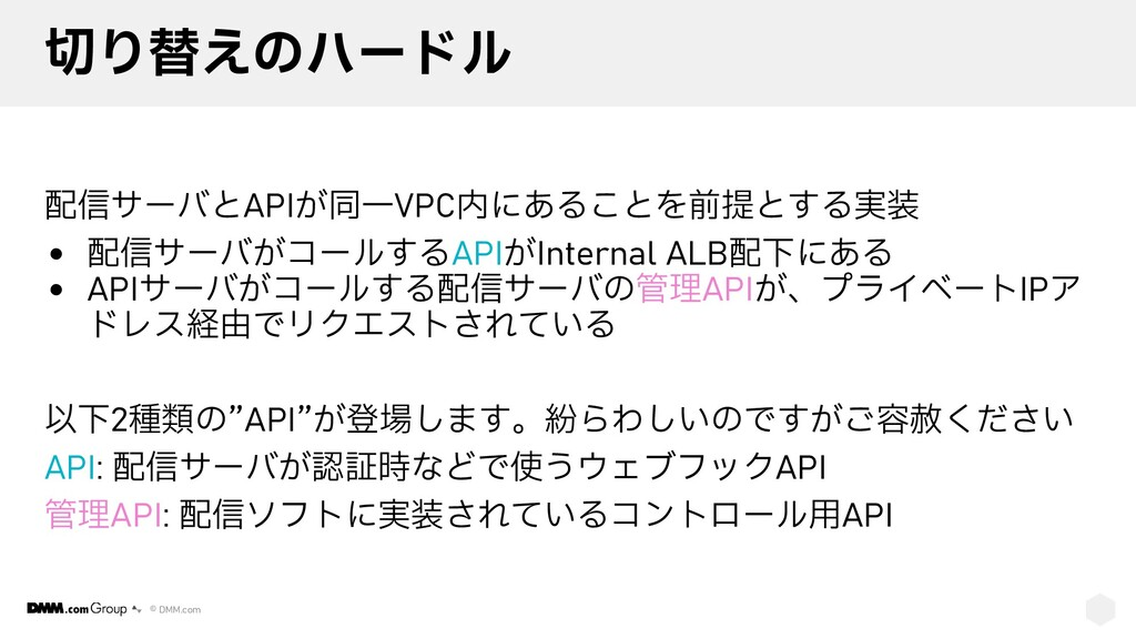 © DMM.com 切り替えのハードル 配信サーバとAPIが同一VPC内にあることを前提とする...