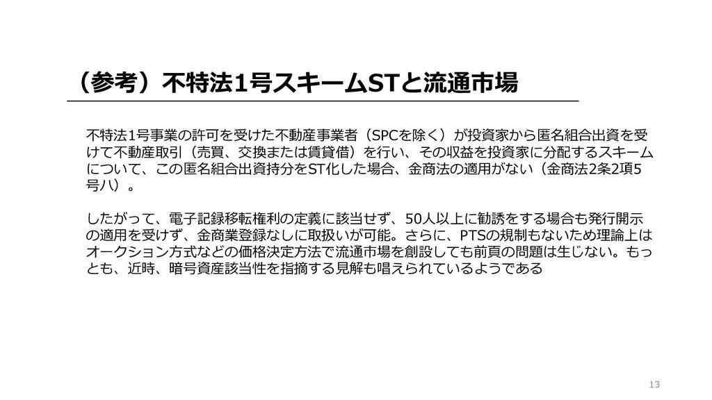 13 (参考)不特法1号スキームSTと流通市場 不特法1号事業の許可を受けた不動産事業者(SP...