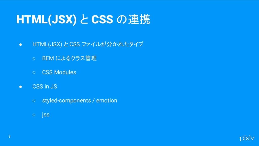3 HTML(JSX) と CSS の連携 ● HTML(JSX) と CSS ファイルが分か...