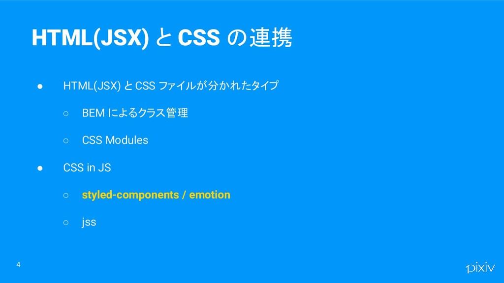4 HTML(JSX) と CSS の連携 ● HTML(JSX) と CSS ファイルが分か...