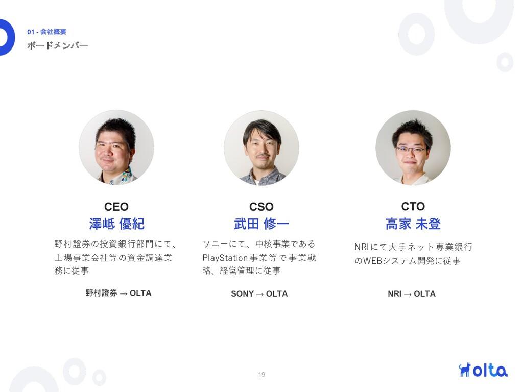 19 ボードメンバー 01 - 会社概要 武⽥ 修⼀ ソニーにて、中核事業である PlaySt...