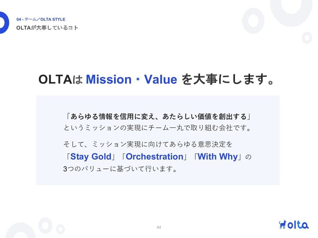 84 OLTAが大事しているコト 04 - チーム/OLTA STYLE 「あらゆる情報を信⽤...