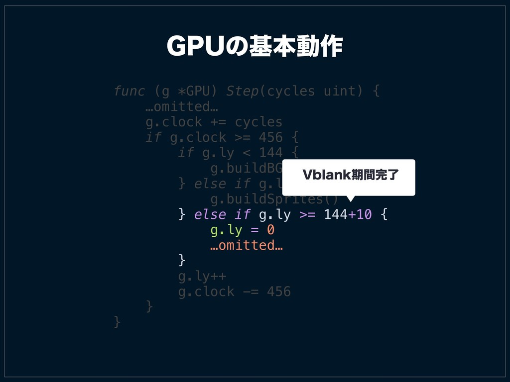 (16ͷجຊಈ࡞ func (g *GPU) Step(cycles uint) { …omi...