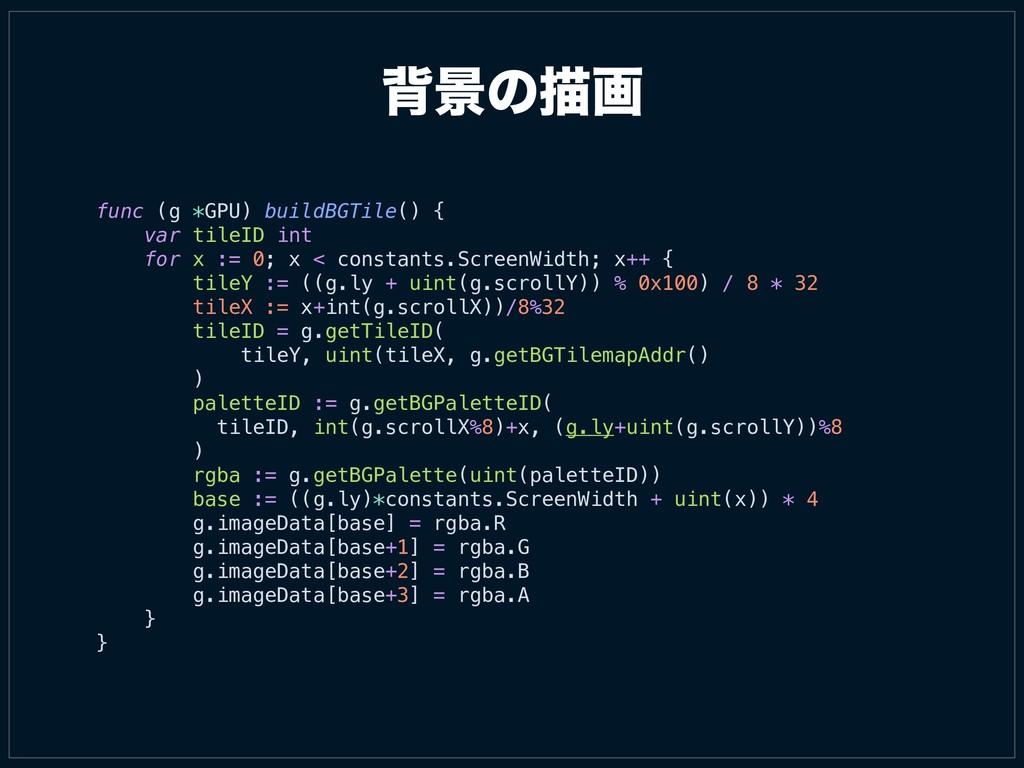 എܠͷඳը func (g *GPU) buildBGTile() { var tileID ...
