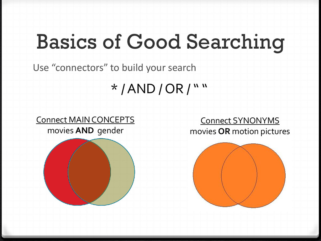 """Basics of Good Searching Use """"connectors"""" to bu..."""
