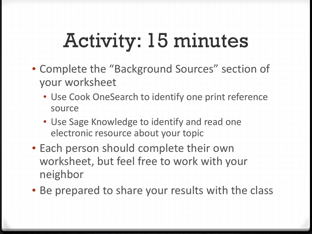 """Activity: 15 minutes • Complete the """"Background..."""