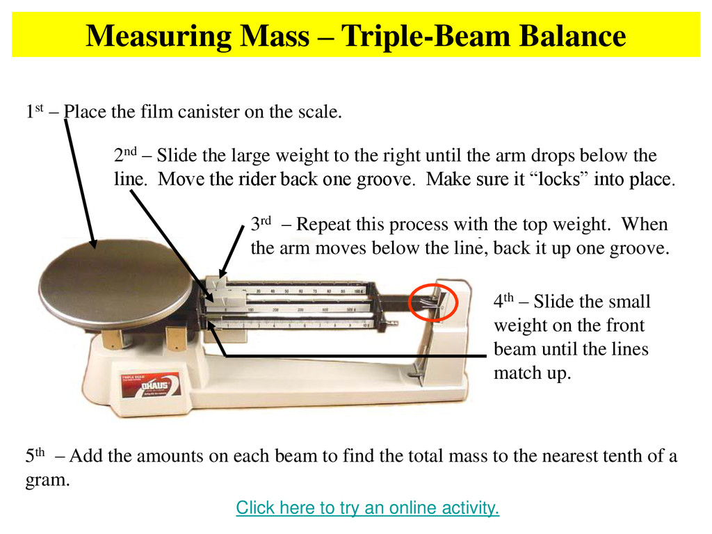 Measuring Mass – Triple-Beam Balance Click here...