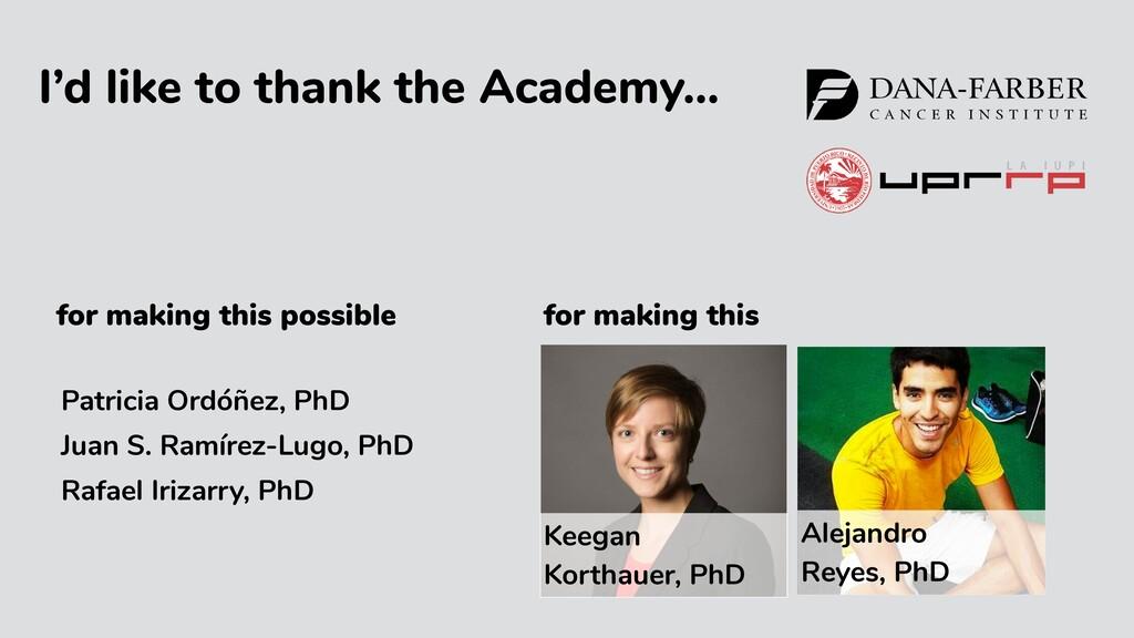 I'd like to thank the Academy… Keegan Korthauer...