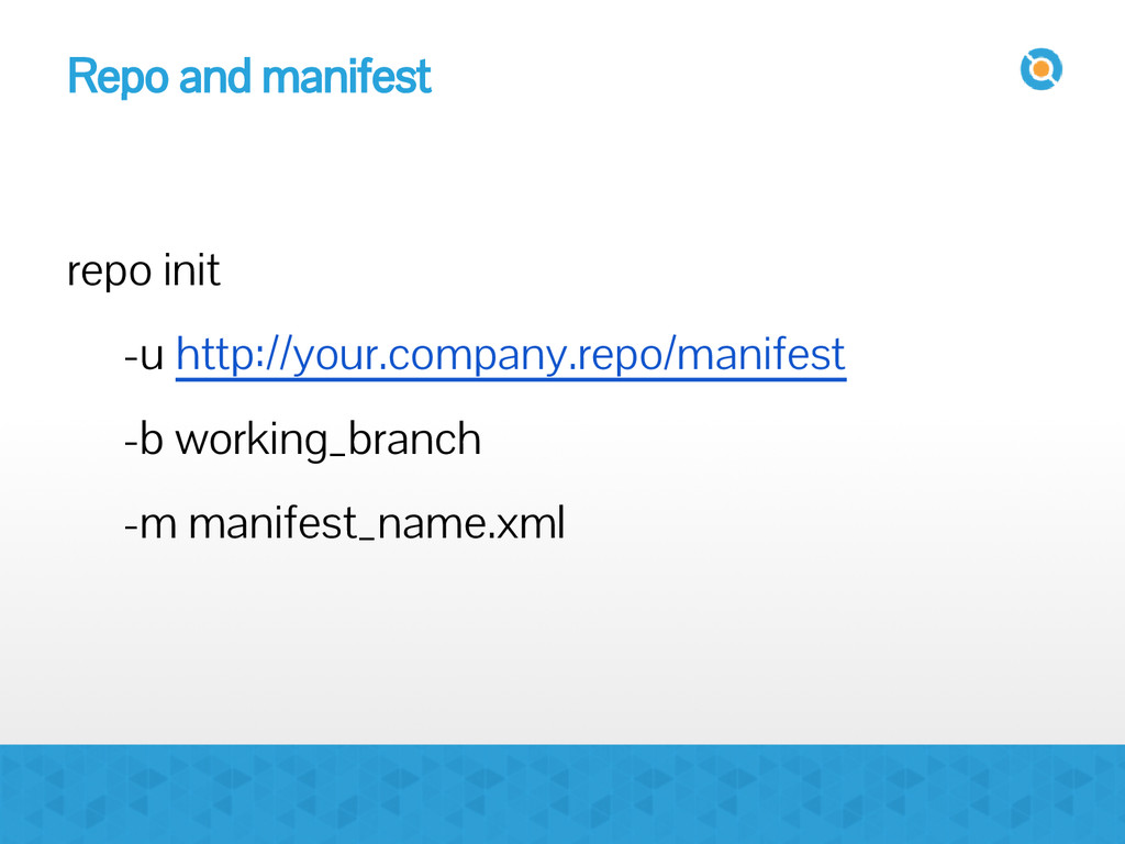 Repo and manifest repo init -u http://your.comp...