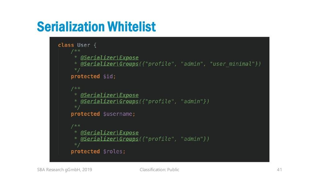 Classification: Public 41 Serialization Whiteli...