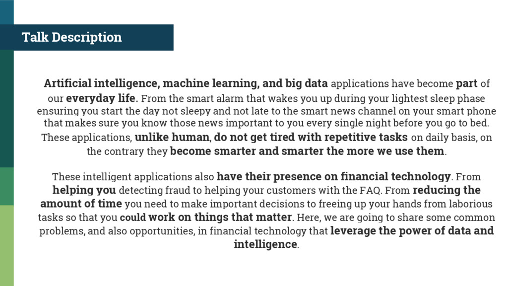 Talk Description Artificial intelligence, machi...