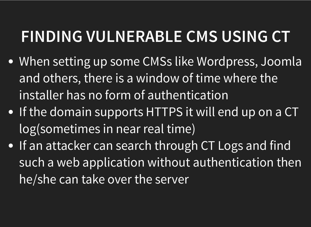 FINDING VULNERABLE CMS USING CT FINDING VULNERA...