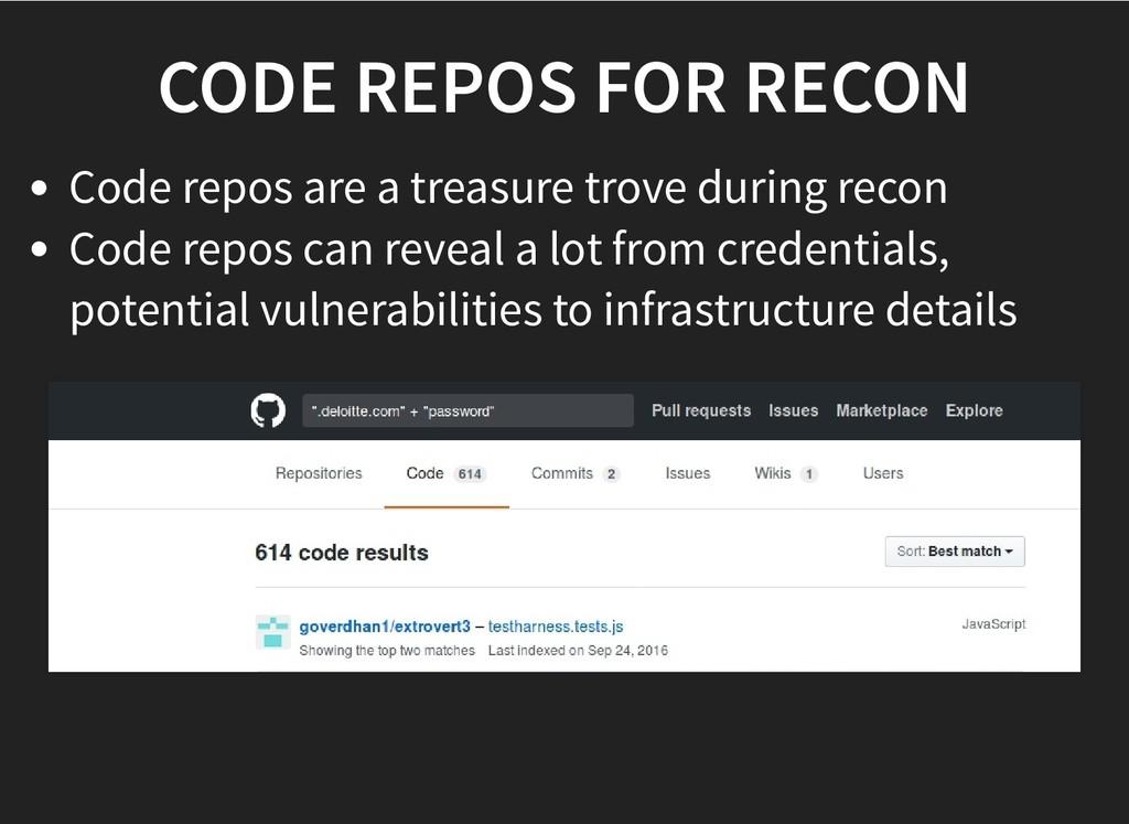 CODE REPOS FOR RECON CODE REPOS FOR RECON Code ...